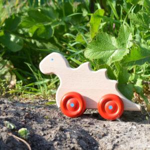 houten speelgoed dino op wielen
