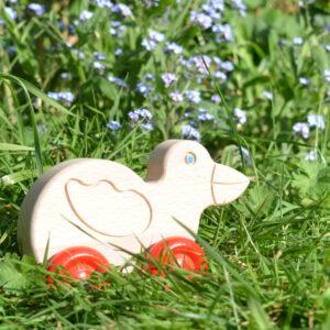 houten speelgoed vogel op wielen