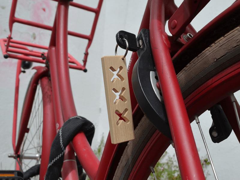 Houten sleutelhanger Amsterdams hout